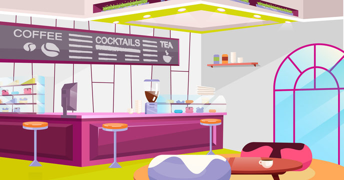 Coffeehouse interior flat vector illustration. Cozy cafe with trendy chairs, tables and vintage arched window. Cartoon counter, coffee machine and glass showcase. Stylish chalkboard with drinks menu