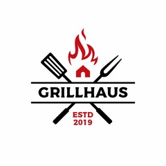 grill house fork spatula fire flame logo vector icon illustration