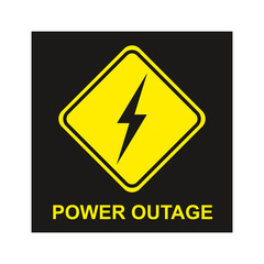 Power outage sign on black background. Power outage icon.