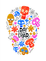 Printed roller blinds Watercolor Skull Day of the dead colorful mexican skull shape icons