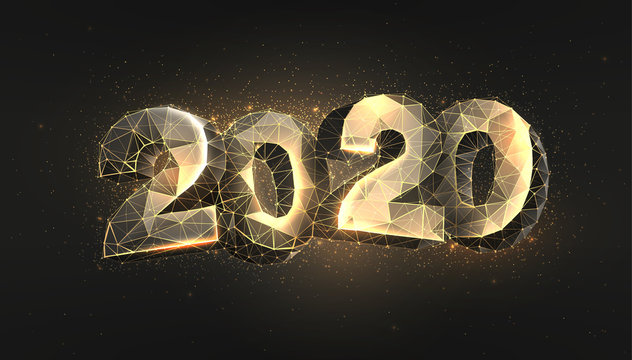 2020 low poly banner template. Wireframe triangular glowing numbers, golden shining date polygonal illustration. New year congratulating poster, greeting card, postcard design layout