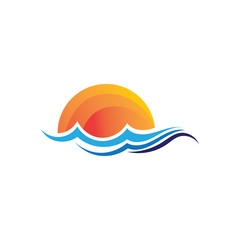 Waves beach logo and symbols template icons app