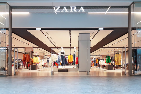 Gdansk, Poland - June 30, 2018: Exterior of Zara fashion store in Gdansk. Zara is a flagship store of Inditex - a famous Spanish multinational clothing company.