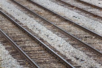 Several Parallel Railroad Train Tracks In A Rail Yard