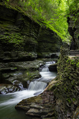 Waterfall Cascades Through Buttermilk Falls State Park, Ithaca, New York, United States of America