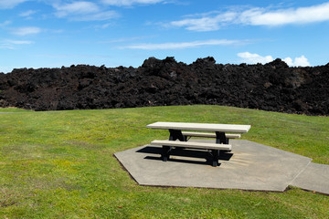 Summer 2018 Lava Flow Right Next To A Picnic Table And Field At Isaac Hale Beach Park, Pohoiki, Big Island Of Hawaii, USA