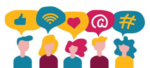 Social media concept, digital app symbols for bloggers and influencers, hashtag, like, wireless network, vector illustration