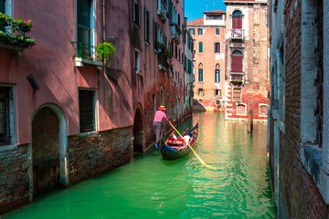 Foto op Canvas Gondolas Gondolas on Canal in Venice, Italy