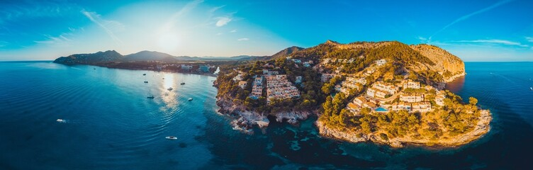 giant panorama of majorca - picture taken by a drone