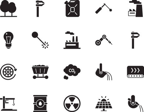 factory vector icon set such as: weld, red, impact, refinery, repair, emissions, plastic, chimney, workshop, perfect, idea, season, chemical, panel, gallon, pine, jerrycan, cloud, cargo, formula, can