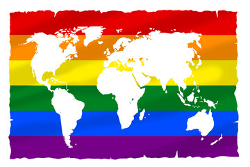 Obraz Flaga LGBT naniesiona na mapę Ziemi.  - fototapety do salonu