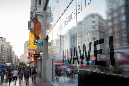 Madrid, Spain. June 2019: Huawei Flagship store in gran via
