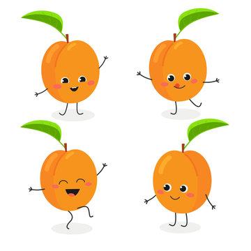 Apricot cartoon character emoticon set