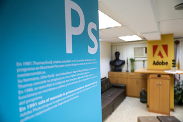 The corporate logo of photography software Photoshop of Adobe company is seen in Posa Studio school in Caracas