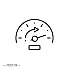accelerate icon, fast odometer, chronometer, guage time, thin line web symbol on white background - editable stroke vector illustration eps 10