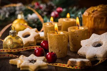 Christmas still life with homemade cookies and candles