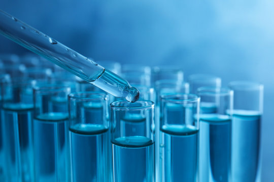 Dropping sample into test tube with liquid on blue background, closeup