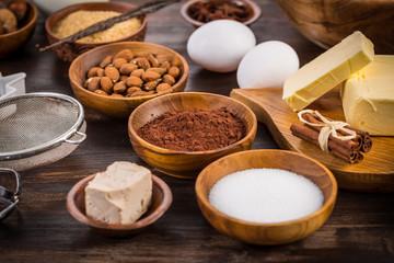 Assortment of baking ingredients for Xmas cookies