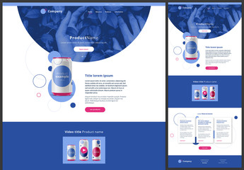 Homepage Website Design Layout with Blue and Pink Accents