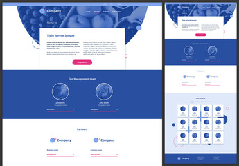 About Us Page Website Design Layout with Blue and Pink Accents