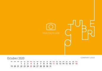 2020 New Desk Calendar Spanish language October line design template orange background