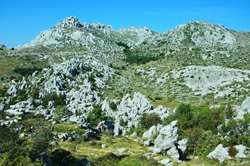 Croatia-view of the rocky city of Tulove Grede in the Velebit National Park