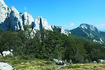 Croatia-view of the tourists and mountains in the Velebit National Park
