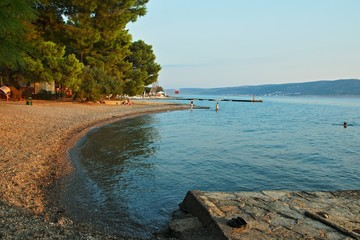 Croatia-view of a beach in the camp in town Starigrad