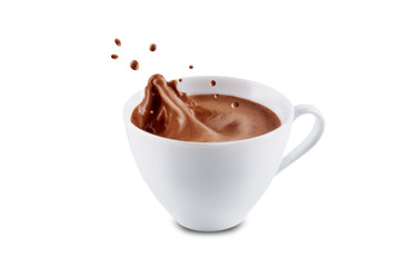 Dark hot chocolate drink on a white isolated background