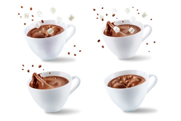 Fotobehang Chocolade Dark hot chocolate drink on a white isolated background