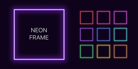 Neon monochrome square Border with copy space. Templates set