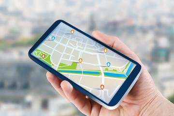Fototapeta Mobilna nawigacja GPS na tablecie w ręce obraz