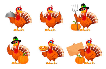 Thanksgiving turkey, set of six poses