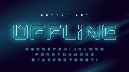 Glowing holographic uppercase letter set, vector alphabet, typography