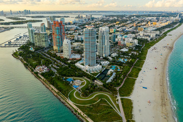 Wall Mural - Aerial drone photo Miami Beach South Pointe Park