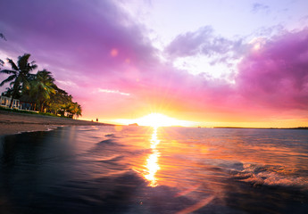 Tropical Fiji sunset on the beach of Sofitel
