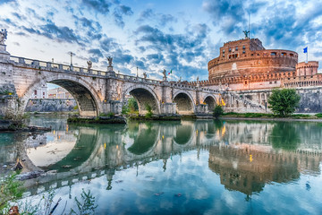 Fotomurales - View of Castel Sant'Angelo fortress and bridge, Rome, Italy