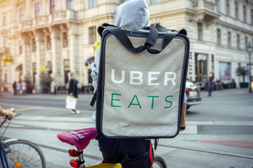 Vienna Austria October.8 2018, Uber eats is an US international company, food delivery bicycle driver with backpack