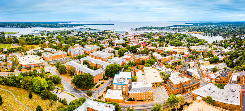 Aerial panorama of Annapolis, Maryland early in the morning. Annapolis is the capital of the U.S. state of Maryland, as well as the county seat of Anne Arundel County.