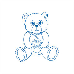 Line art bear with a large chain & dollar sign meddle siting down