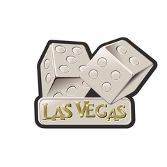 "Las vegas dice with the words ""Las Vegas"" on a plack below the dice"