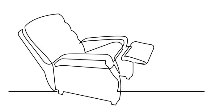 continuous line drawing of old fashioned comfortable recliner armchair