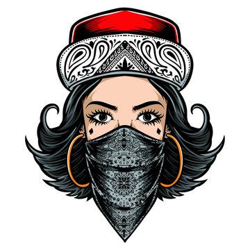 chicano style women logo vector