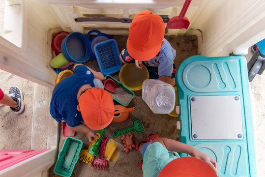 preschool children playing in a play house view from above