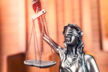 Law theme,Lady Justice Statue on wooden background,law concept