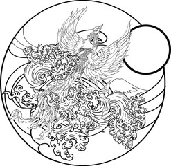 Japanese peacock tattoo.Asian Phoenix fire bird tattoo design.Colorful Phoenix fire bird colouring book illustration.Hand drawn Japanese tattoo style.