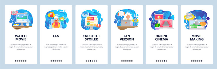 Cinema website and mobile app onboarding screens vector template