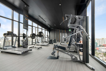 Fitness gym on the top floor of a modern building