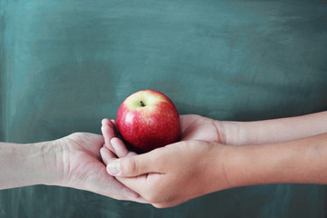 Student and teacher hands holding red apple with chalkboard background, Happy teacher's day, health, give and donate concept