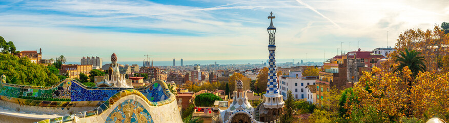 Photo sur Toile Barcelone Panoramic view of Park Guell in Barcelona, Catalunya Spain.